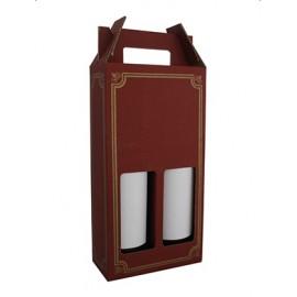 Coffret carton portable 2 Bouteilles lie de vin