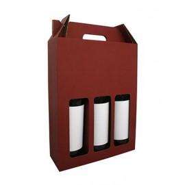 Coffret carton portable 3 Bouteilles lie de vin