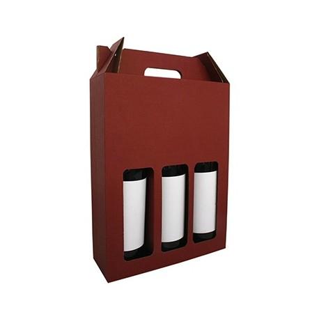 Coffret cadeau carton 3 bouteilles lie de vin