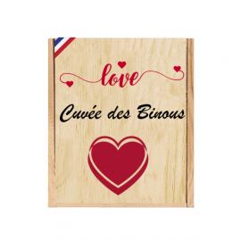 Caisse Bois 3 Bouteilles Bordeaux à glissière personnalisée