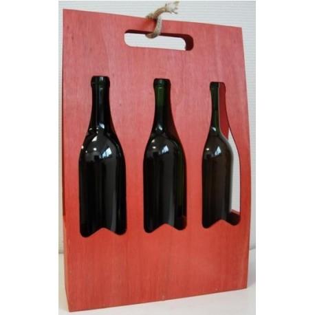 Portable bois 3 bouteilles lie de vin