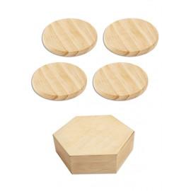 4 dessous de verres ronds et leur boîte hexagonale