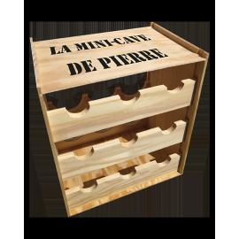 Caisse bois transformable en mini-cave 9 bouteilles personnalisable
