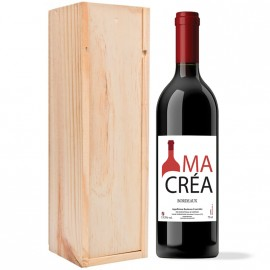Coffret bois avec 1 bouteille Bordeaux Rouge 2018