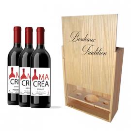 Coffret bois avec 3 bouteilles Bordeaux Rouge 2018