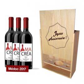Coffret bois avec 3 bouteilles Médoc 2017