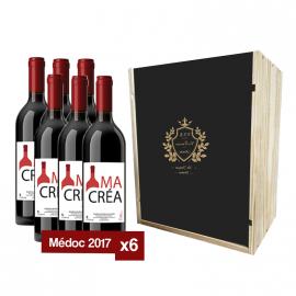 Coffret bois avec 6 bouteilles Médoc 2017