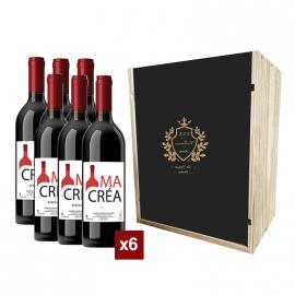 Coffret bois avec 6 bouteilles Bordeaux Rouge 2018