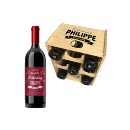 Caisse Mini-Cave avec 6 bouteilles Bordeaux Rouge personnalisable