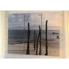 Tableau bois personnalisé Triptyque 9 estampes de 40x60 cm
