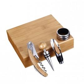 Coffret du sommelier bois 4 pièces personnalisé
