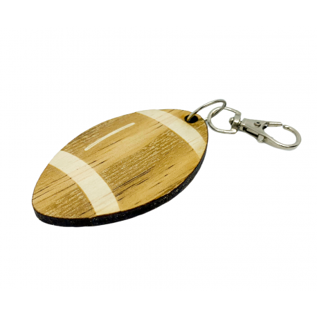 Porte-clé bois ballon rugby Mabouteille.fr