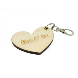 Porte-clés cœur en bois personnalisé