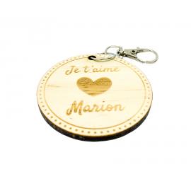 """Porte-clés en bois """"Je t'aime"""" personnalisé"""