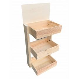 Mini présentoir comptoir personnalisé 3 caisses bois