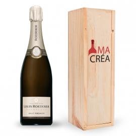 Champagne Louis Roederer brut premier avec caisse bois personnalisée