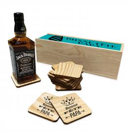 Whisky Jack Daniel's avec caisse bois et 12 dessous de verre personnalisés