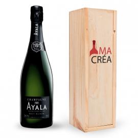 Champagne Ayala Brut Majeur avec caisse bois personnalisée