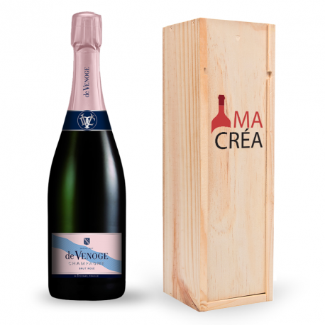 Champagne De Venoge Rosé avec caisse bois personnalisée