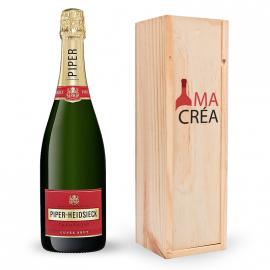 Champagne Piper Heidsieck Brut avec caisse bois personnalisée