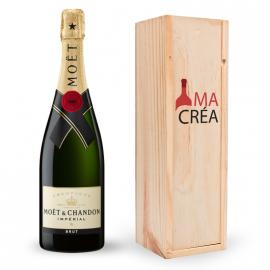 Champagne Moët & Chandon avec caisse bois personnalisée