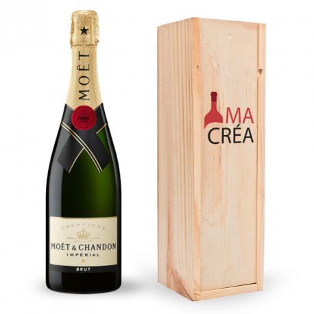 Champagne Impérial brut Moët & Chandon avec caisse bois personnalisée