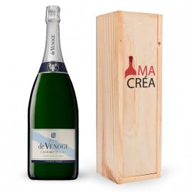 Champagne De Venoge magnum avec caisse bois personnalisée
