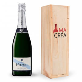 Champagne De Venoge brut avec caisse bois personnalisée