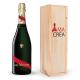 Champagne Cordon Rouge brut Mumm avec caisse bois personnalisée