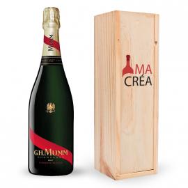 Champagne Cordon Rouge Mumm avec caisse bois personnalisée