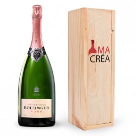 Champagne Bollinger Brut Rosé avec caisse bois personnalisée