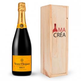 Champagne Veuve Clicquot avec caisse bois personnalisée