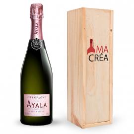 Champagne Ayala Rosé avec caisse bois personnalisée