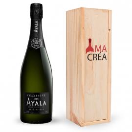 Champagne Ayala Brut magnum avec caisse bois personnalisée