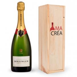 Champagne Bollinger Brut magnum avec caisse bois personnalisée