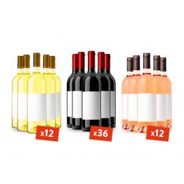 Coffret 60 bouteilles Bordeaux Rouge-Blanc-Rosé