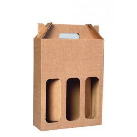 Coffret carton portable 3 Bouteilles kraft