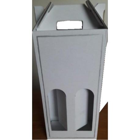 Coffret carton portable 2 Bouteilles blanc