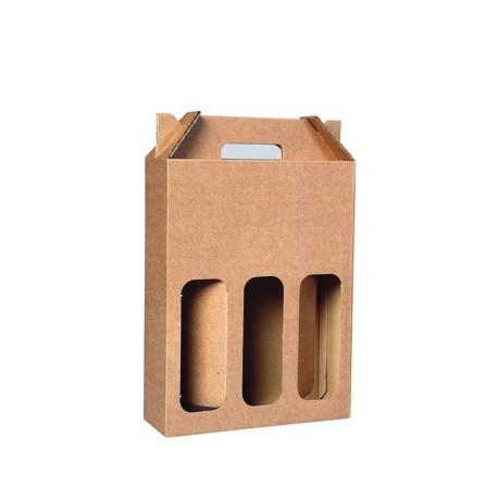 Coffret carton portable 3 Bouteilles kraft personnalisé