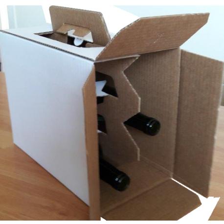 Coffret carton portable 6 Bouteilles blanc