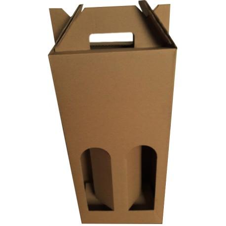 Coffret carton portable 2 Bouteilles kraft personnalisé